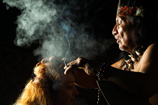 mayan jungle people amazon shaman plant ayahuasca medicine doctor ritual magical in ecuadorian amazon during a genuine ayahuasca formal picture as seen in april 2015 mayan jungle people amazon shaman