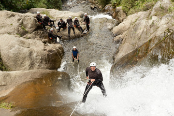 Waterfall Rappelling On Canyoning Adventure