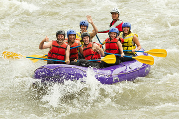 raft water white family whitewater adventure river holiday sport boat whitewater rafting boat crowd of seven human raft water white family whitewater adventure river holiday sport boat happy tourist