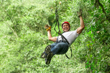 Happy Tourist On Zip Line Tour
