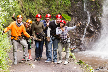 Group Of Adult People In Ecuadorian Rain Forest