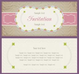 Old style lotus landscape design for invitation card, sky blue, light pink and light beige