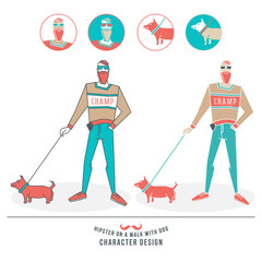 Illustration of a hipster walking with a dog