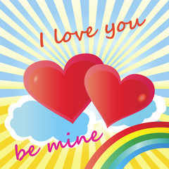 Romantic love bright card with hearts and text I love you be my.