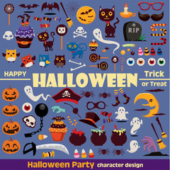 Vintage Halloween character poster design icon set