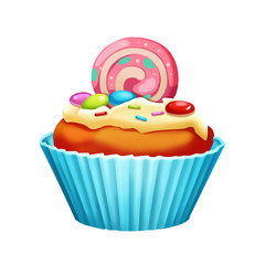 Illustration: Elements Set: Cake Cup. Realistic Cartoon Life Style.