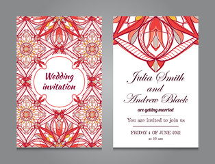 Wedding invitation in vintage ornamental style