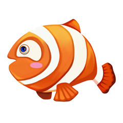 Illustration: Elements Set: Beautiful Fish. Realistic Cartoon Life Style.