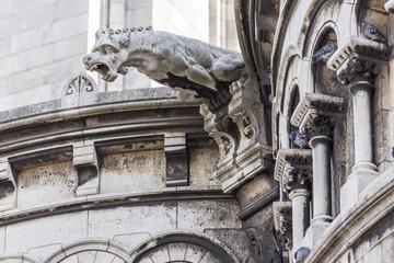 PARIS, FRANCE, on AUGUST 31, 2015. Architectural details of a basilica Sakre Kerr (fr. Basilique du Sacre Coeur) on Montmartre. Sakre Kerr is one of symbols of Paris