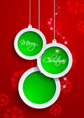 Paper White and Green Merry Christmas on Red Background