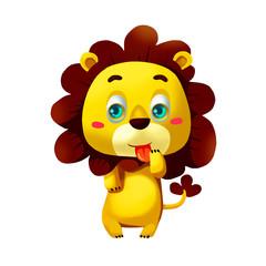 Illustration: Elements Set: Lion. Realistic Cartoon Life Style.