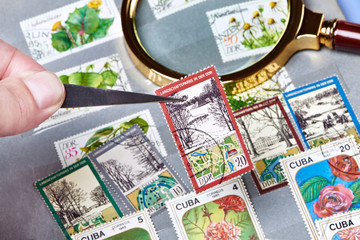 Old postage stamps in album