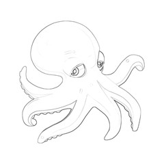 Illustration: Coloring Book Series: Octopus. Soft thin line. Print it and bring it to Life with Color! Fantastic Outline / Sketch / Line Art Design.