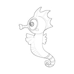 Illustration: Coloring Book Series: Sea horse. Soft thin line. Print it and bring it to Life with Color! Fantastic Outline / Sketch / Line Art Design.