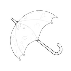 Illustration: Coloring Book Series: Umbrella. Soft thin line. Print it and bring it to Life with Color! Fantastic Outline / Sketch / Line Art Design.