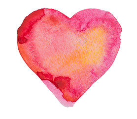 Watercolor, aquarelle red heart isolated on white background.