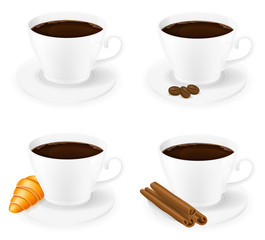cup of coffee with cinnamon sticks grain and beans side view vec