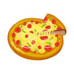 Illustration: Elements Set: Delicious Pizza. Realistic Cartoon Life Style