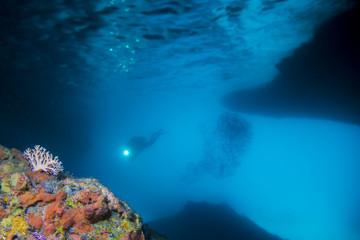 Taucher - Höhle - Karibik
