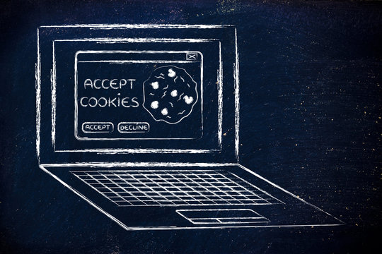 laptop with message about accepting website cookies