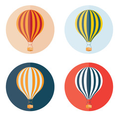 air balloons flat design icons set