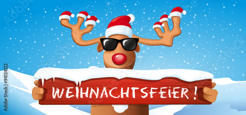 cartoon rentier mit weihnachtsm tze h lt schild. Black Bedroom Furniture Sets. Home Design Ideas