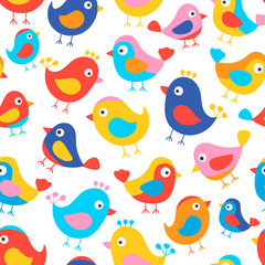 Hand drawn seamless pattern with cute birds. Fun birds for kids design. Vector. Bright colors - red, blue, pink, yellow, orange. On white background.