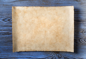 old parchment on blue wood