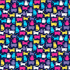 Pattern with cats. Hand drawn seamless pattern with cute colorful cats. Bright colors. Vector background.