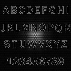 Alphabet, vector background-brick wall.