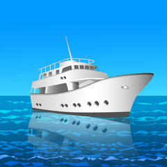 white yaht or ship in the sea vector illustration