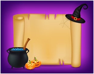 Halloween banner, card with empty paper scroll and witches cauldron, blue potion, pumpkin. Blank vector ancient scroll of parchment wallpaper, background. Poster or brochure for Halloween party.