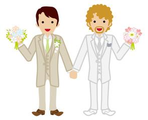Wedding -gay couple -Beige Suit