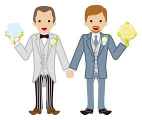 Wedding -gay couple -Shaven head