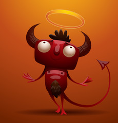 Vector little red devil pretending to be angel. Image of a smiling little red devil with horns and a tail, pretending to be angel on an orange background.