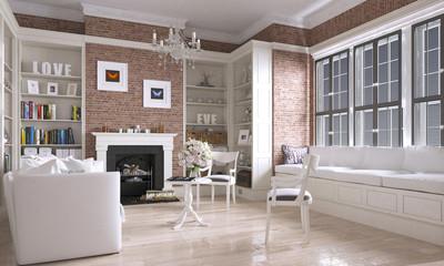 Wohnzimmer mit Kamin im Country Look