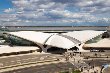View of old space-aged style TWA Flight Center building at John F. Kennedy International Airport terminal 5