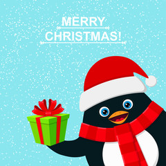 Cute penguin with gift box and felicitation Merry Christmas