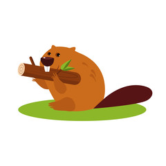 Cartoon Beaver with a Wood. Vector Illustration in Flat Style