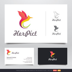 Colorful Dancing Bird Logo and Business Card Design