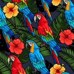 Macaw and hibiscus seamless