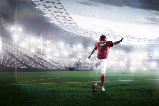 Composite image of american football player kicking football