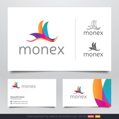 Colorful Parrot Bird Logo and Business Card Design