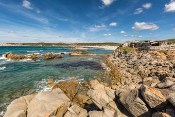 Rocks and beach on the coast of Sardinia near Rena Majore