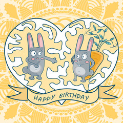greeting card happy birthday. two rabbits, carrots, heart, flora