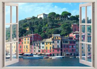 pen window view to old Portofino, Italy