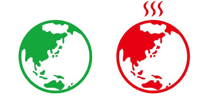 地球と地球温暖化_線画