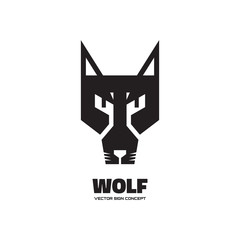 Wolf head - vector logo concept illustration. Dog logo illustration. Wolf graphic sign. Animal wold logo. Wild wolf sign. Vector logo template. Design element.