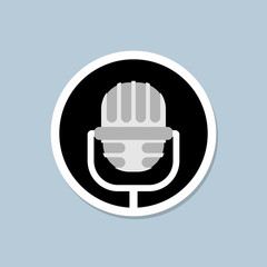 Retro microphone icon. Device for lead. Accessory for performanc