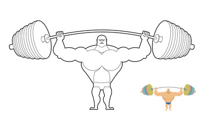 Athlete barbell coloring book. Bodybuilder harvests. Strong man